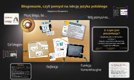 Blogowanie, czyli pomysł na lekcję języka polskiego