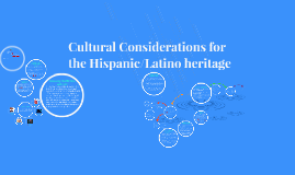 Cultural Considerations for the Hispanic/Latino heritage