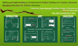 Making and Implementing an Environmental Studies Database for Teacher Librarians: Metadata Education for Teacher Librarians
