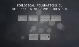 BIOLOGICAL FOUNDATIONS I: TUES 6-9