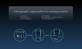 Ethnographic (approaches to) writing research
