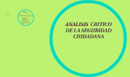 ANALISIS  CRITICO DE LA SEGURIDAD CIUDADANA