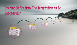 Opening Reflection: The temptation to Be Spectacular