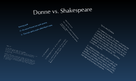 Donne vs. Shakespeare