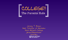 College: The Parents' Role