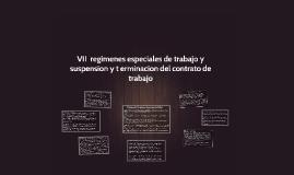 VII  raegimenes especiales de trabajo y suspension y t ermin